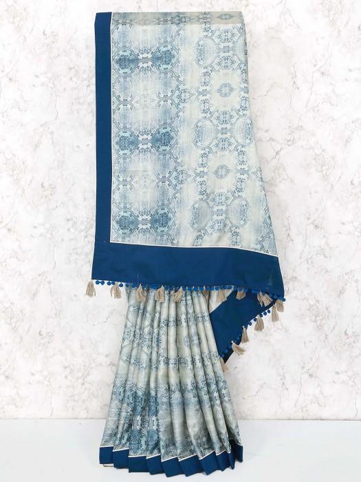 Beige Cotton Festive Wear Saree