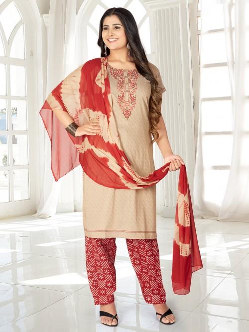 Beige Cotton Round Neck Punjabi Salwar Suit