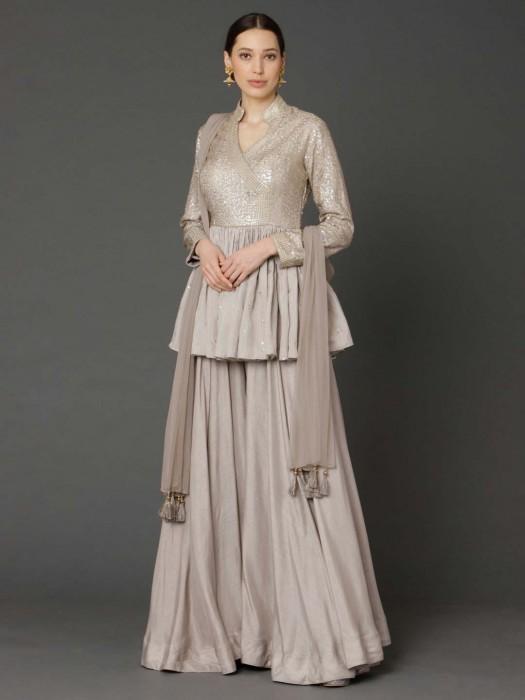 Beige Cotton Silk Sequins Work Peplum Sharara Suit