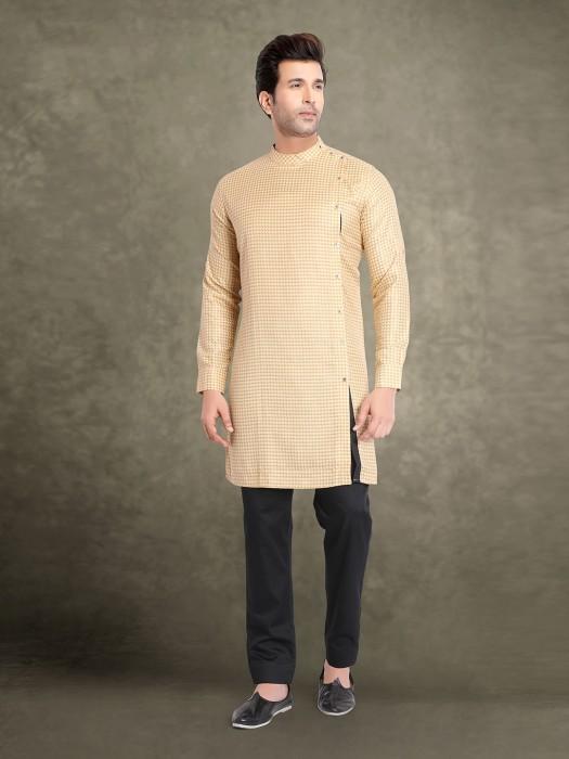 Beige Cotton Sober Look Printed Kurta Suit