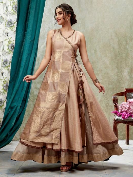 Beige Designer Cotton Silk Angrakha Kurti Tunic