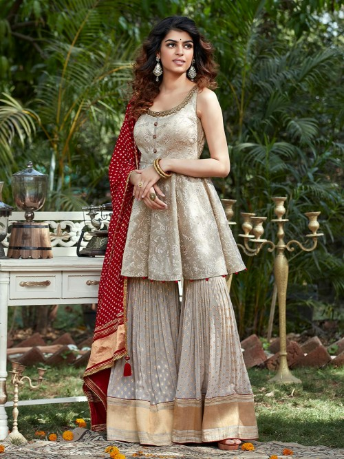 Beige Designer Punjabi Sharara Suit For Wedding
