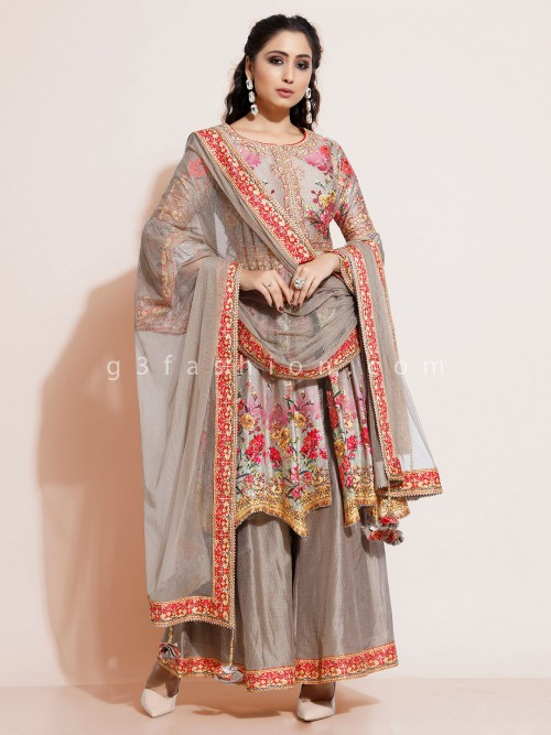 Beige Designer Sharara Suit In Cotton Silk With Floral Print