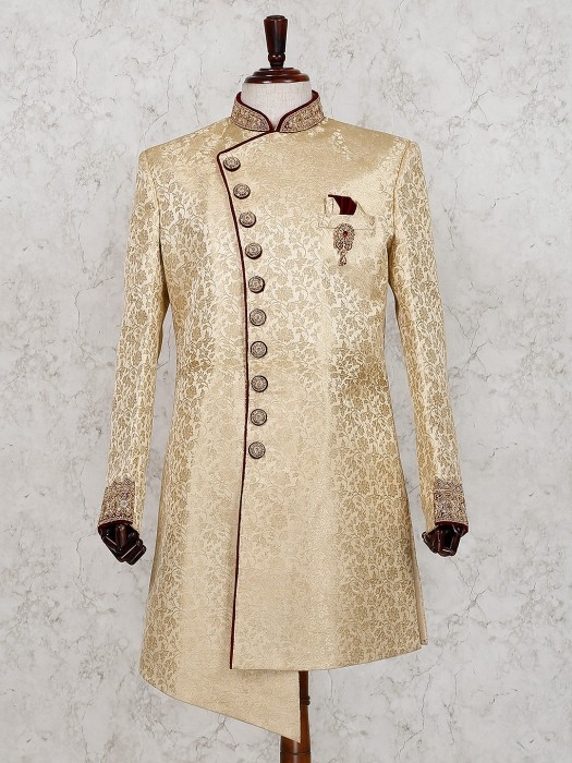 Beige Designer Silk Indo Western For Wedding