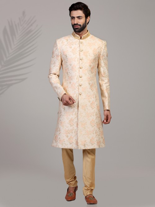 Beige Designer Silk Mens Brocade Sherwani