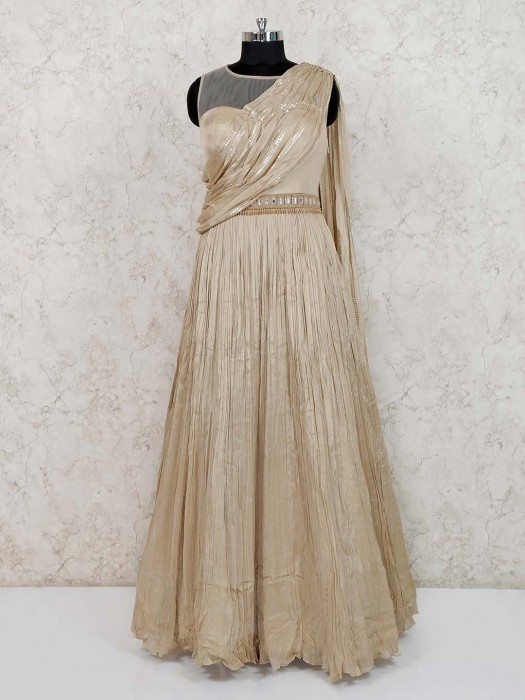 Beige Georgette Round Neck Gown