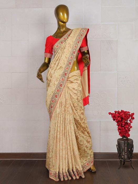 Beige Hue Banarasi Silk Wedding Saree
