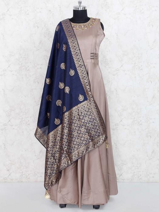 Beige Hue Colored Cotton Silk Floor Length Anarkali Salwar Suit