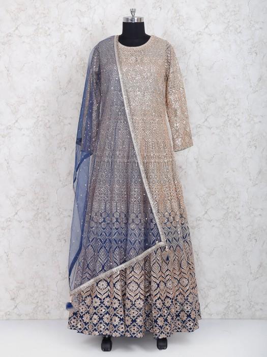 Beige Hue Floor Length Anarkali Salwar Suit