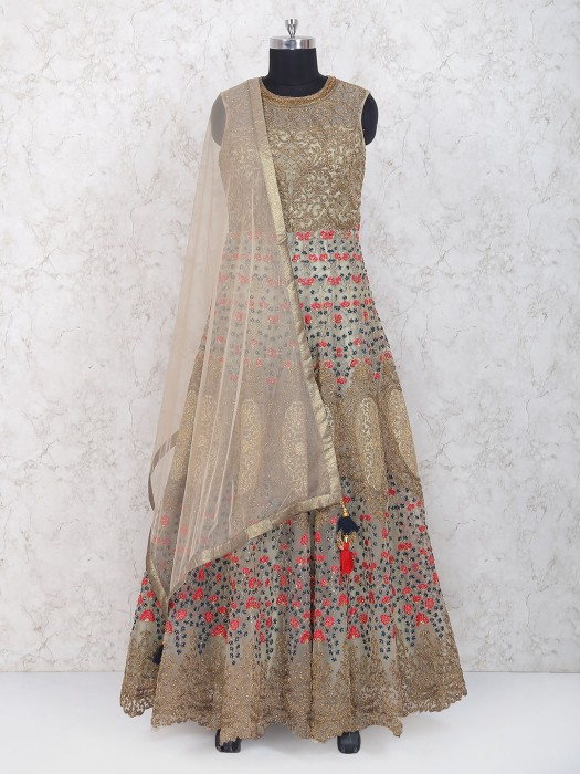 Beige Hue Floor Length Anarkali Suit In Net Fabric