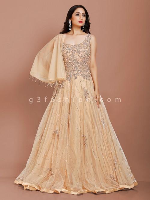 Beige Net Party Occasion Designer Gown