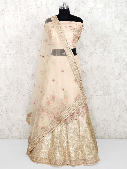Beige Hue Raw Silk Semi Stitched Wedding Lehenga Choli