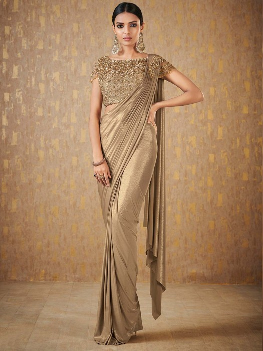 Beige Hue Shimmer Ready To Wear Saree