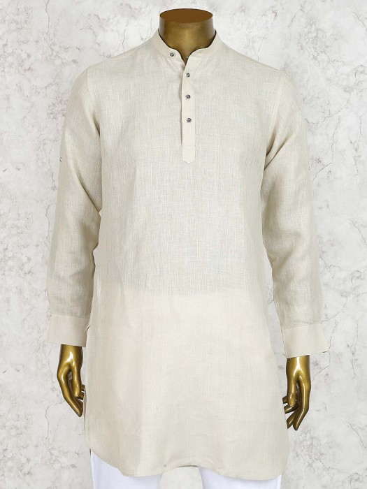 Beige Hue Solid Linen Cotton Fabric Short Pathani