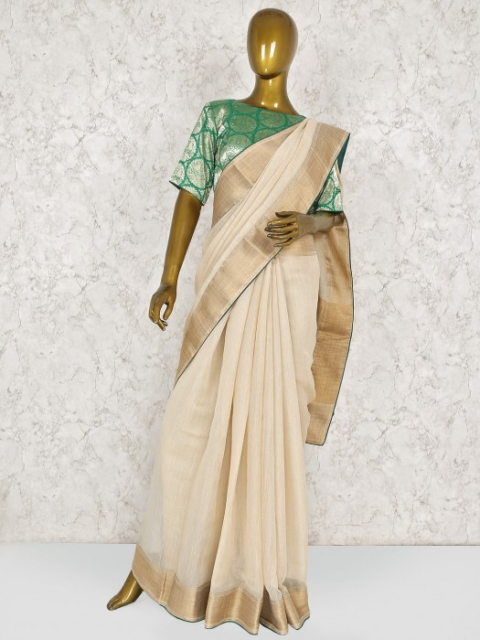 Beige Linen Saree With Ready Made Blouse