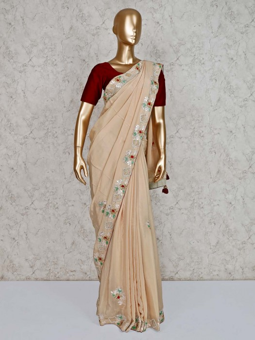 Beige Party Wear Embroidered Saree In Satin
