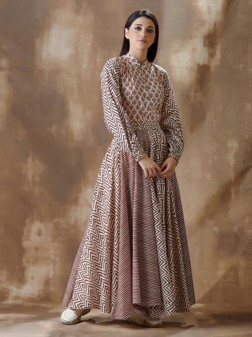 Beige Printed Designer Anarkali Salwar Suit In Cotton For Festives