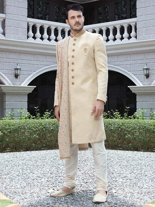 Beige Raw Silk Fabric Sherwani For Wedding Occasion