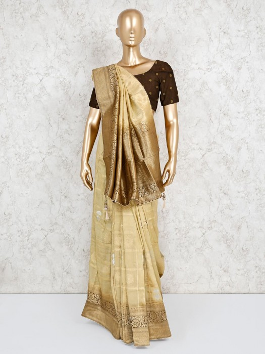 Beige Silk Saree For Festival