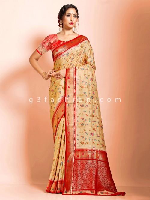 Beige Supar Fine Dola Silk Wedding Wear Designer Saree With Contrast Pallu