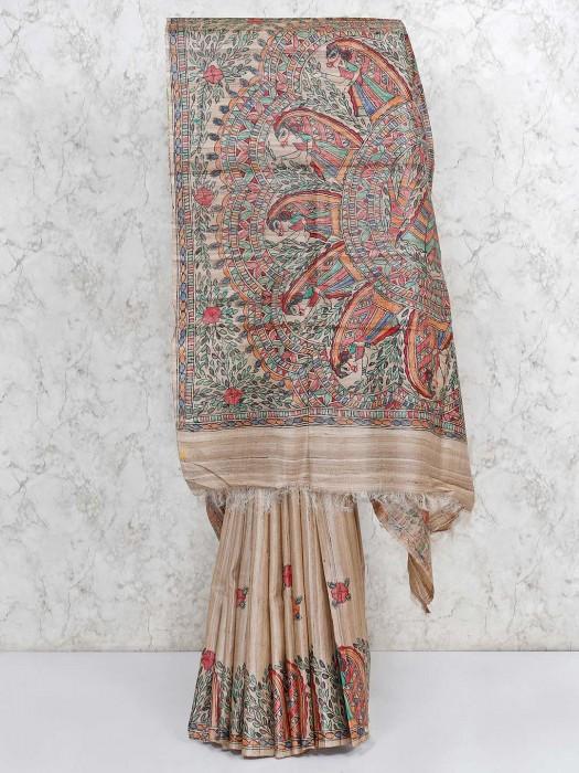 Beige Tussar Silk Printed Saree