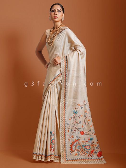 Beige Tussar Silk Saree For Reception