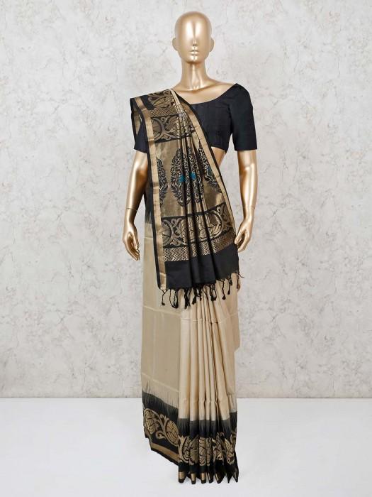 Beige Zari Weaving Pure Silk Saree