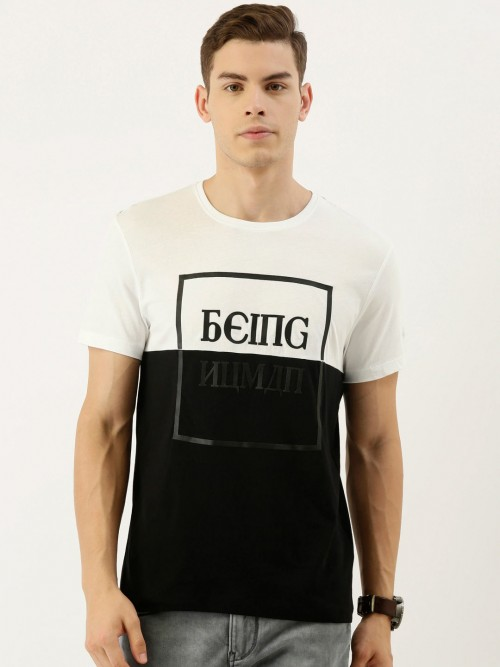 Being Human Black And White Cotton Casual T-shirt