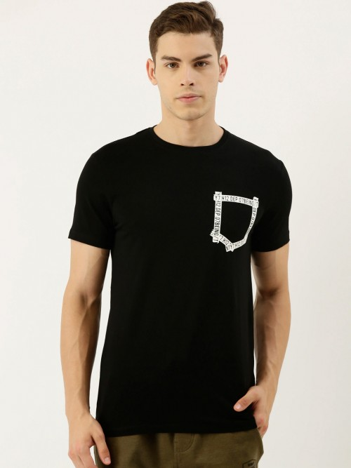 Being Human Black Solid Cotton Half Sleeve Casual T-shirt