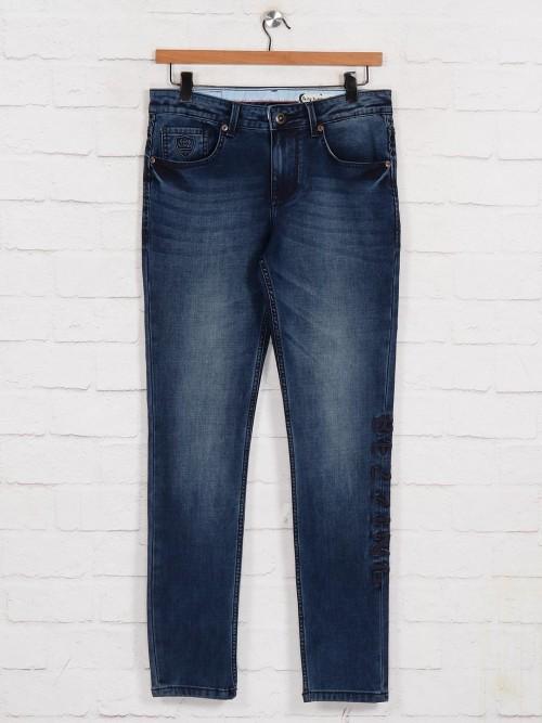 Being Human Dark Blue Washed Slim Fit Jeans