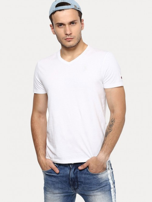 Being Human Solid White Cotton T-shirt