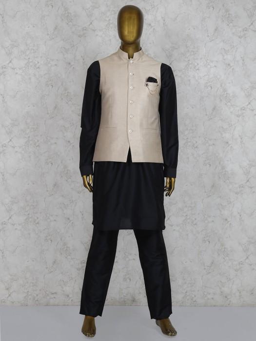Black And Beige Solid Silk Waistcoat Set