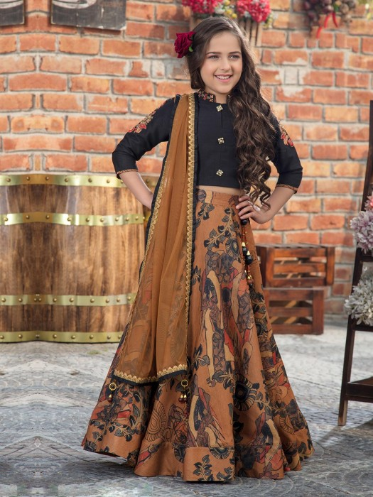 Black And Brown Party Wear Girls Lehenga Choli