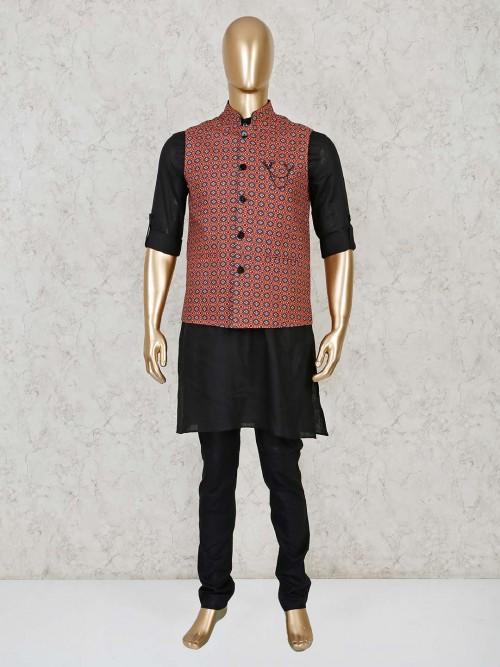 Black And Maroon Cotton Silk Printed Waistcoat Set