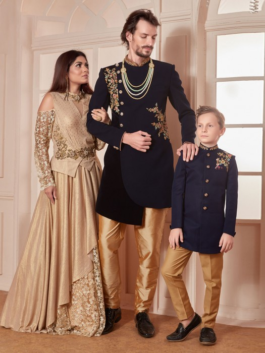Black And Navy Color Terry Rayon Party Father Son Indo Western