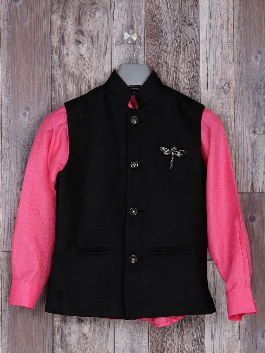 Black And Pink Hue Cotton Jute Waistcoat