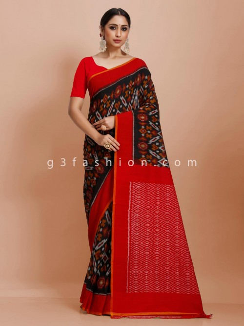 Black And Red Printed Pure Mul Cotton Festive Wear Saree