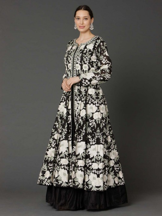 Black And White Cotton Silk Floor Length Anarkali Suit