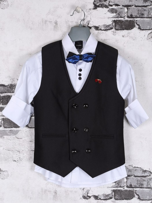 Black And White Party Wear Waistcoat