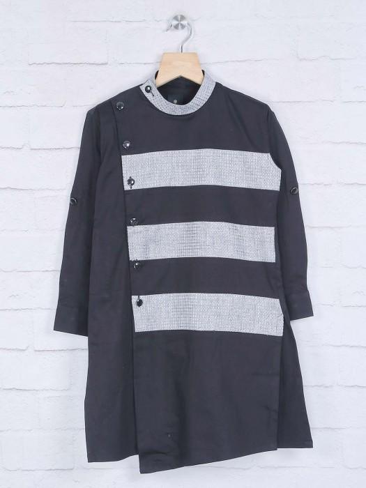 Black Bandhgala Cotton Kurta Suit