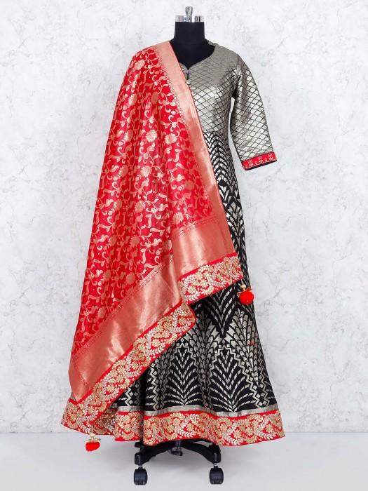 Black Color Banarasi Silk Floor Length Anarkali Suit