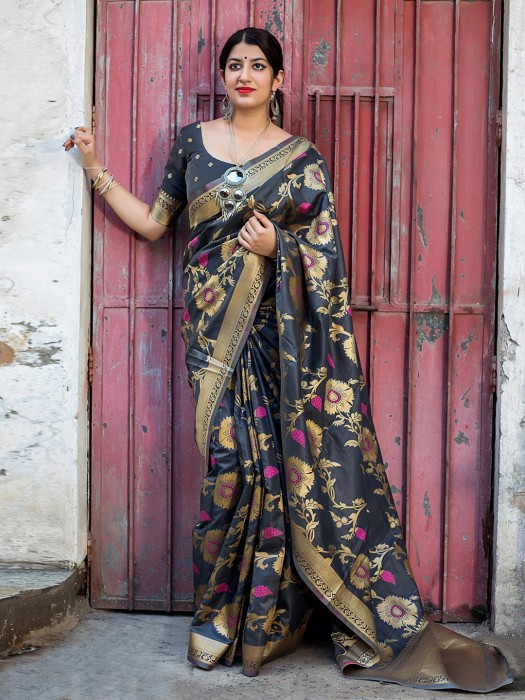 Black Color Banarasi Silk Saree