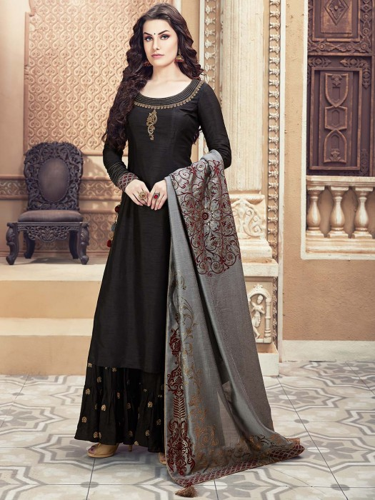 Black Color Raw Silk Festive Sharara Suit