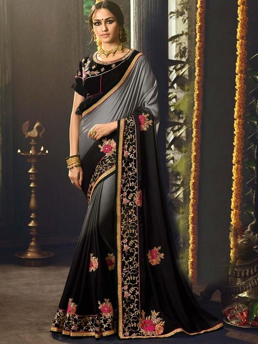 Black Color Saree In Satin