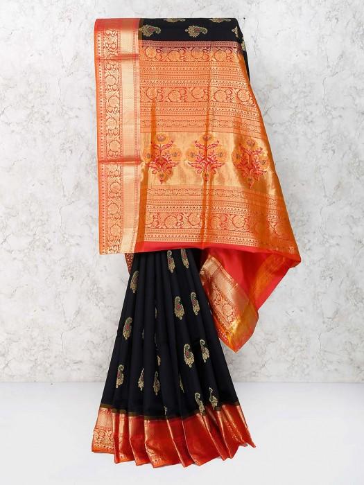 Black Color Saree In Semi Silk Fabric