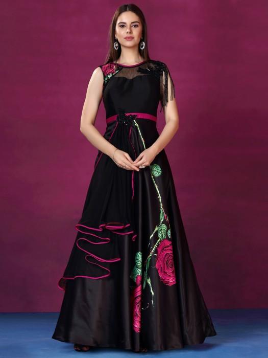 Black Color Silk Printed Floor Length Gown