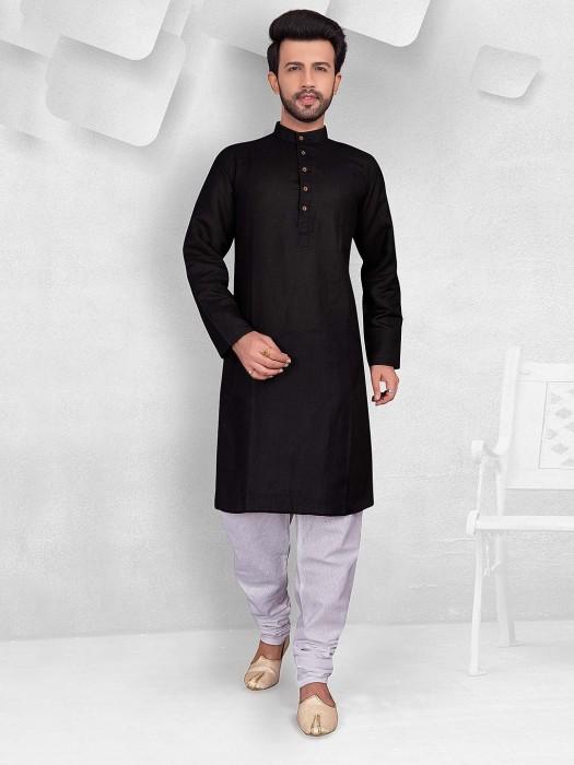 Black Color Simple Festive Wear Kurta Suit