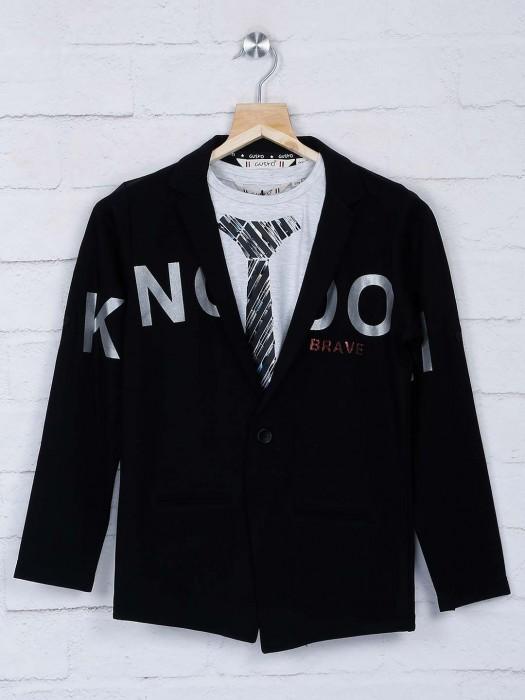 Black Color Terry Rayon Party Wear Blazer