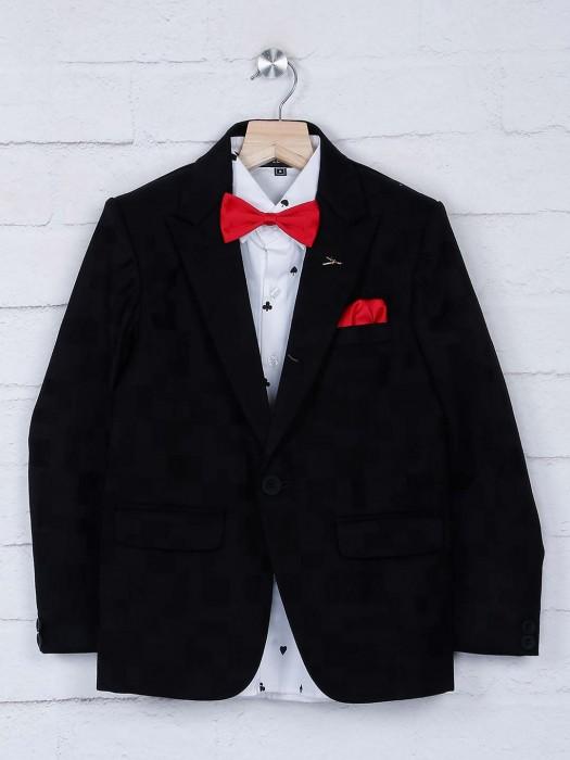 Black Color Textured Pattern Boys Tuxedo Suit