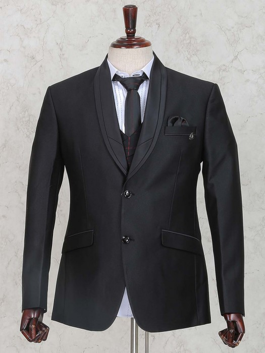 Black Colored Solid Terry Rayon Mens Coat Suit